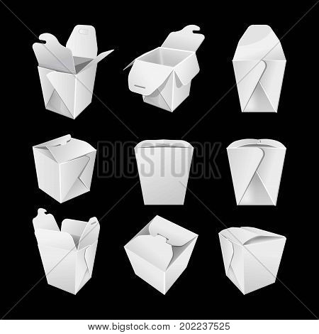 White empty paper boxes from all foreshortening closed and opened for Chinese fast food set isolated vector illustrations on black background. Cardboard containers for noodles that can be recycled.