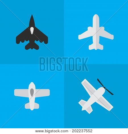 Elements Flying Vehicle, Plane, Airliner And Other Synonyms Aviation, Vehicle And Airplane.  Vector Illustration Set Of Simple Aircraft Icons.
