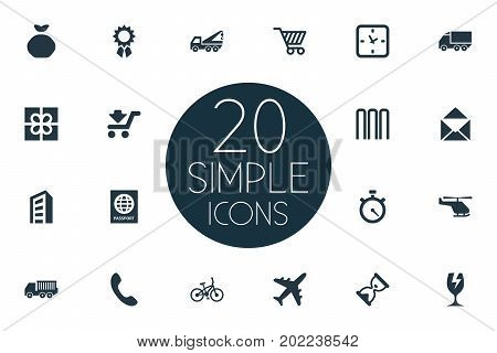 Elements Watch, Cargo Truck, Velocipede And Other Synonyms Truck, Holdall And Timer.  Vector Illustration Set Of Simple Carting Icons.