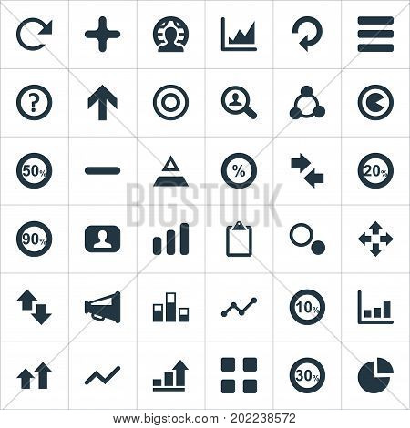 Elements Cube, Ten, Upward And Other Synonyms Circle, Positive And Negative.  Vector Illustration Set Of Simple Statistic Icons.