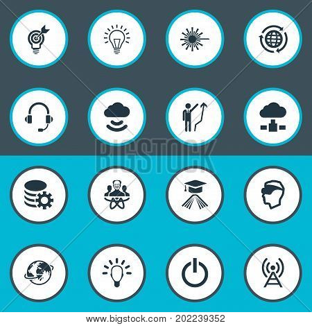 Elements Education, Gear, Physicist And Other Synonyms Member, Storage And Profile.  Vector Illustration Set Of Simple Creativity Icons.