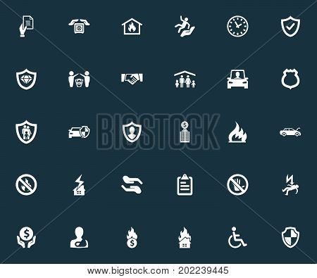 Elements Advocacy, Agreement, Protection And Other Synonyms Strongbox, Roof And Diamond.  Vector Illustration Set Of Simple Fuse Icons.