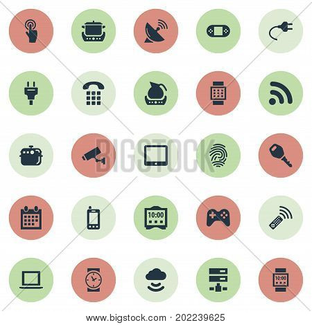 Elements Antenna, Teapot, Datacenter And Other Synonyms Thumbprint, Oven And Display.  Vector Illustration Set Of Simple Internet Icons.