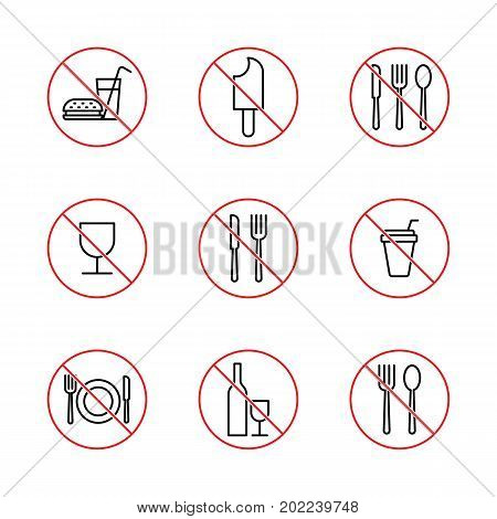 No Food Signs Set On White Background