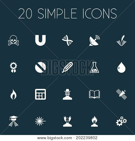 Elements Professor, Temperature Measurement, Dish Antenna And Other Synonyms Engendering, Counting And Measurement.  Vector Illustration Set Of Simple Science Icons.