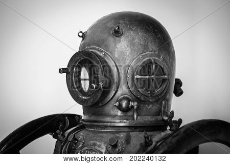 An old diver helmet used by the military to fix ships during the '40s