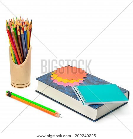Book colored pencils and stickers isolated on white background