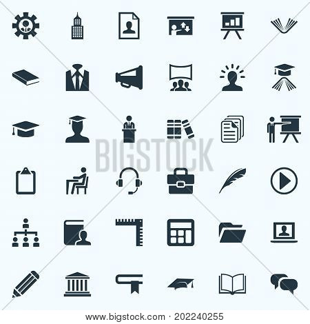 Elements Graduation Cap, Directory, Start And Other Synonyms Lecture, School And Bubble.  Vector Illustration Set Of Simple Speaker Icons.