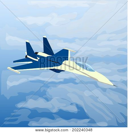 Reactive plane jet with pilot inside in the clouds.