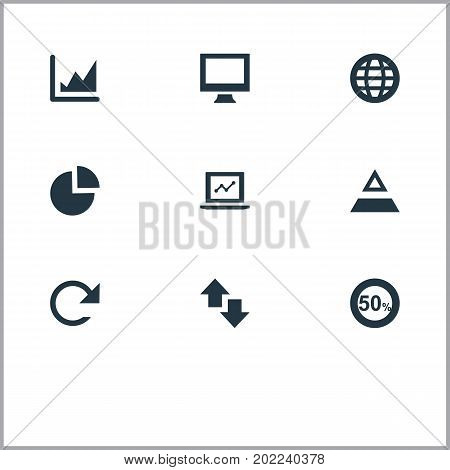Elements Chart, Reverse, Triangle And Other Synonyms Monitor, Display And Refresh.  Vector Illustration Set Of Simple Analytics Icons.