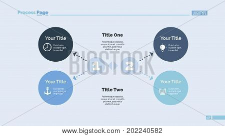 Four ideas process chart. Business data. Circle, diagram, design. Creative concept for infographic, templates, presentation, marketing. For topics like management, strategy, economics.