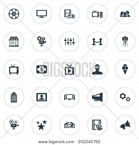 Elements Presenter, Home Cinema, Cinematography And Other Synonyms Television, Camera And Controller.  Vector Illustration Set Of Simple Film Icons.