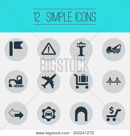 Elements Car Workshop, Warning, Shopping And Other Synonyms Airport, Sign And Rope.  Vector Illustration Set Of Simple Infrastructure Icons.