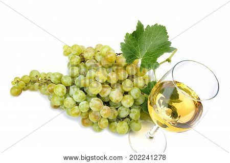 White Grape Bunch And Wine Glass On White Background.