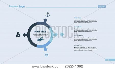 Four directions process chart slide template. Business data. Development, diagram, design. Creative concept for infographic, presentation. Can be used for topics like management, strategy, planning.