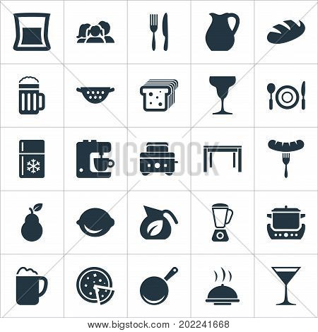 Elements Lime, Cocktail, Catering And Other Synonyms Skillet, Toaster And Bartlett.  Vector Illustration Set Of Simple Gastronomy Icons.