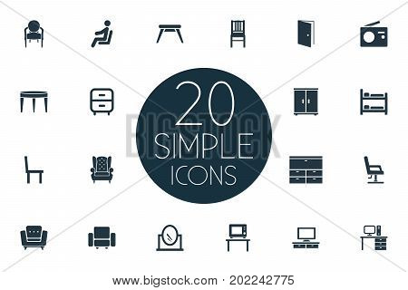 Elements Locker, Elegant Style, Bedroom And Other Synonyms Transmission, Looking-Glass And Stool.  Vector Illustration Set Of Simple Furniture Icons.