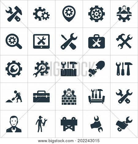 Elements Gear, Repairing, Magnifier And Other Synonyms Craftsman, Workman And Workshop.  Vector Illustration Set Of Simple Mending Icons.