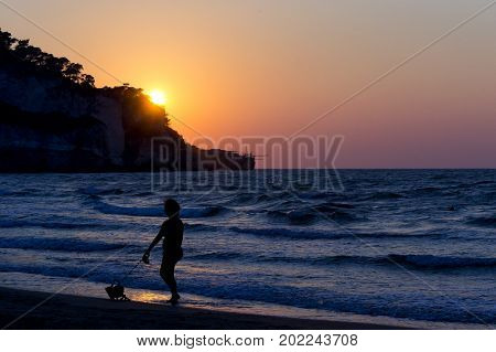 silhouette of a woman with dog on foreshore during sunset. for vacation and summer holiday concept