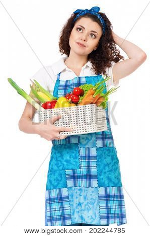 Woman with fresh vegetables, isolated on white background