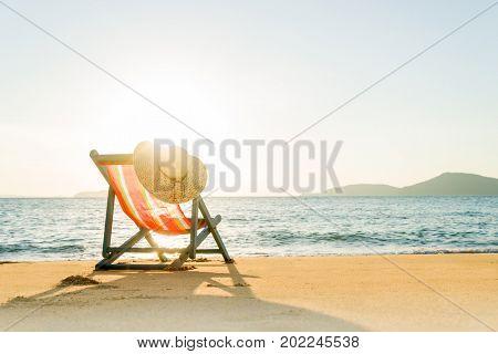 Deck chair at the tropical beach