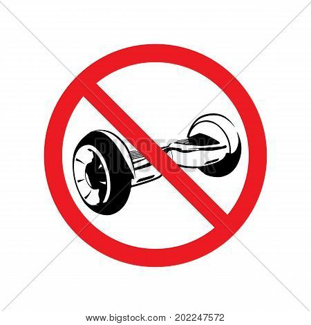 No electric scooter allowed vector illustration. No gyroscooter riding sign.