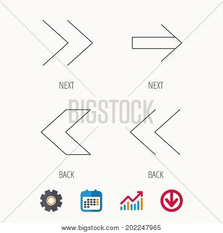 Arrows icons. Left, right direction linear signs. Next, back arrows flat line icons. Calendar, Graph chart and Cogwheel signs. Download colored web icon. Vector