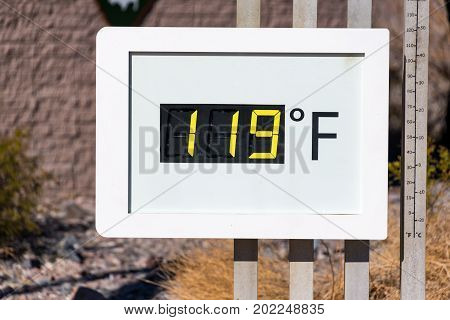 Thermometer reading 119 degrees Fahrenheit in Death Valley National Park in California