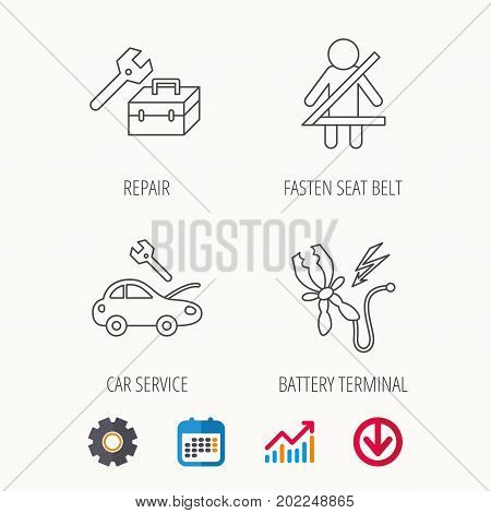 Repair, battery terminal and car service icons. Fasten seat belt linear sign. Calendar, Graph chart and Cogwheel signs. Download colored web icon. Vector