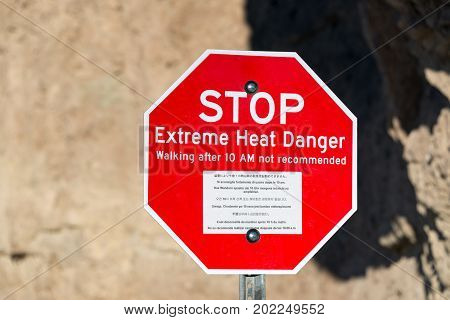 Extreme heat danger sign in Death Valley National Park in California