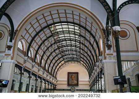 Ho Chi Minh City, Vietnam - March 27, 2017: Architecture inside Saigon Central Post Office, built by the French in 1886, now a popular tourist attraction in Ho Chi Minh city, Vietnam.