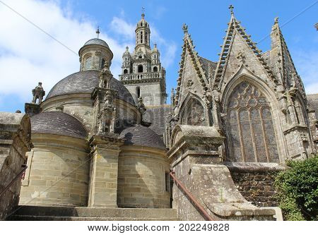 The sacristy and church and tower of Saint-Germain, Pleyben, (Parish Close), Brittany, France