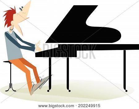 Pianist man isolated. Pianist is playing music and singing with inspiration
