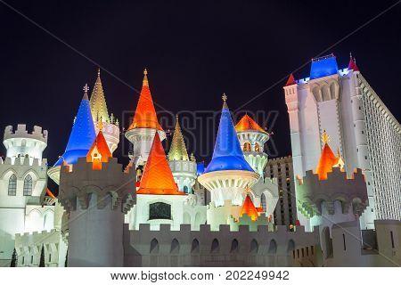 LAS VEGAS SEPTEMBER 17: View of Excalibur hotel and casino in Las Vegas on September 17 2015