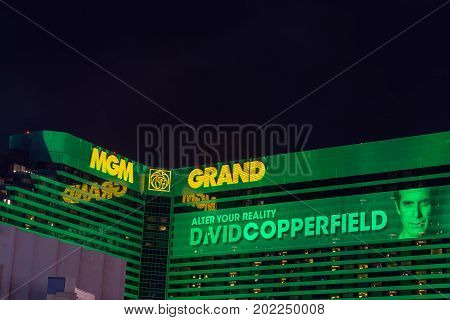 LAS VEGAS SEPTEMBER 17: View of the MGM Grand in las Vegas on September 17 2015