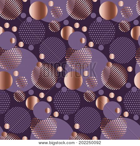 rose gold and purple floral vector abstract seamless pattern illustration. luxury style elegant geometry repeatable motif for surface design, background, wrapping paper