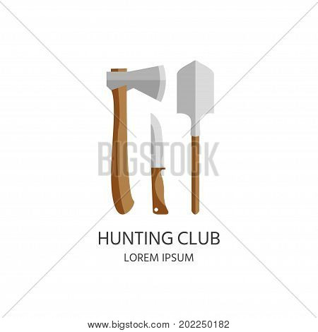 Logo Of Hunting Equipment And Gear For Hunt. Vector Icon Collection.