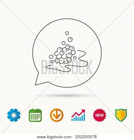 Bubbles icon. Foam for bathing sign. Washing or shampoo symbol. Calendar, Graph chart and Cogwheel signs. Download and Shield web icons. Vector