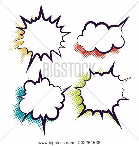 Comics book dialog empty cloud, space cartoon box pop-art. Set outline picture template memphis style text speech bubble halftone dot background. Creative idea conversation sketch explosion balloon.