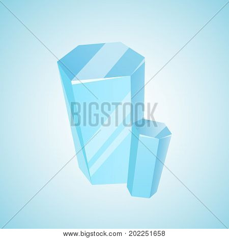 Vector colored mineral, crystal, gem and diamond. Magic crystal on blue background. Isolated bright shining jewel of blue color