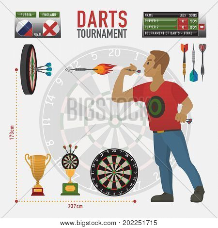 Darts items, elements, labels, icons, symbols, emblems with darts men, dart, arrow, dartboard, trophy shield for sport and leisure theme design. Darts tournament Vector illustration art