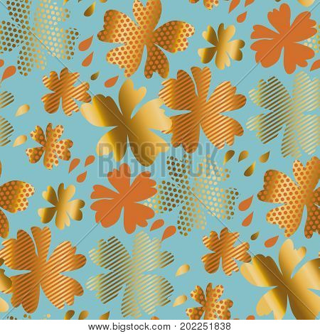 stylized autumn floral vector pattern illustration. fall hot color natural decorative design with gold elements. abstract season vector seamless pattern for surface design, poster, wrapping paper, fabric