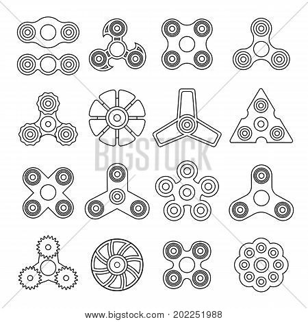 Hand spinner. Toy for increased focus, stress relief. Fidget relax and meditation. Flat icons. Collection of different black and white spinners. Gadget plaything. Vector illustration art.