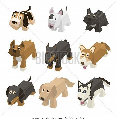 Vector set of different breed isometric dogs. Isolated cute isometry animals. Elements of geometric flat dogs for 3d game. Icon collection of domestic and home animals.Beagle, Bulldog, Boxer, Doberman poster