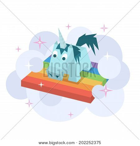 Vector unicorn flat image. Isometric element for children design. Cute blue and lilac isometry funny unicorn. Fairy magic isolated vector object, cartoon design illustration. Beautiful horse with horn