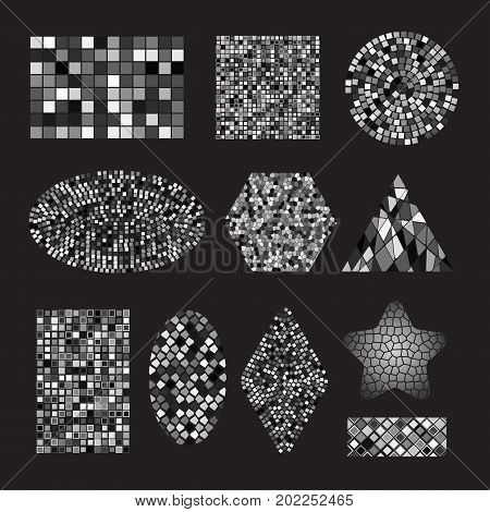 Set of black and white mosaic ceramic tile design elements in different forms: square, circle, triangle, oval, rectangle, polyhedron, rhombus, star. Abstract texture background. Vector illustration