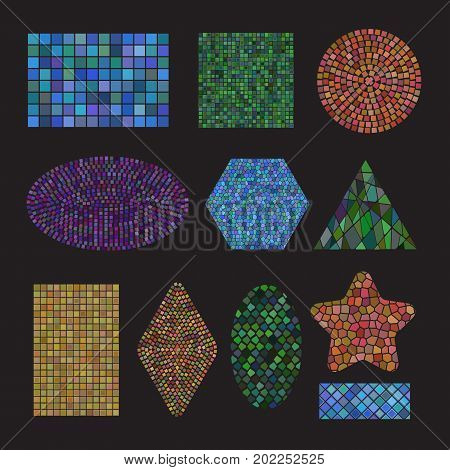 Set of colored Mosaic ceramic tile design elements in different forms: square, circle, triangle, oval, rectangle, polyhedron, rhombus, star. Abstract colorful texture background. Vector illustration