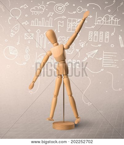 Wooden mannequin posed in front of a greyish background with white scribbled data around him