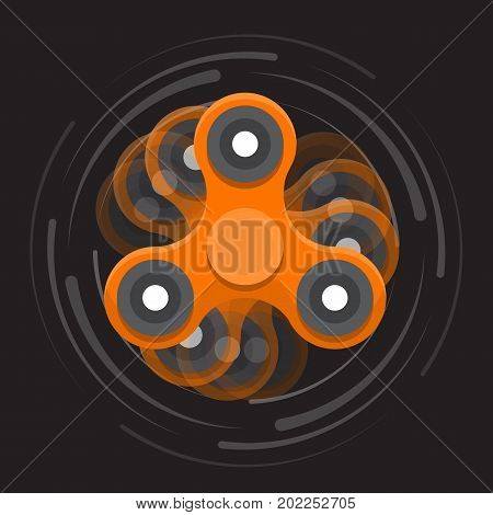Hand colored spinner. Toy for increased focus, stress relief. Fidget relax and meditation. Flat icon. Orange moving spinner. Gadget plaything. Vector illustration art.