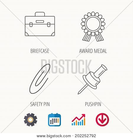 Award medal, pushpin and briefcase icons. Safety pin linear sign. Calendar, Graph chart and Cogwheel signs. Download colored web icon. Vector